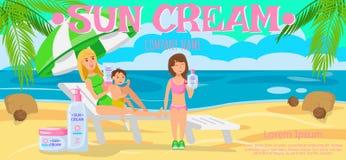 Sunscreen για ολόκληρη την οικογένεια επίσης corel σύρετε το διάνυσμα απεικόνισης ελεύθερη απεικόνιση δικαιώματος