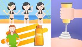 Sunscreen σύνολο εμβλημάτων, ύφος κινούμενων σχεδίων απεικόνιση αποθεμάτων