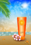 Sunscreen on the beach Royalty Free Stock Photography