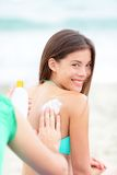 Sunscreen on beach vacation Royalty Free Stock Image