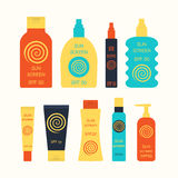 Sunscreen bottle set Royalty Free Stock Photos
