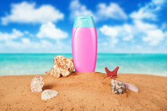 Sunscreen cream bottle Stock Photography