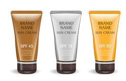 Sunscreen cream realistic package set, isolated on white background.  Royalty Free Stock Photography