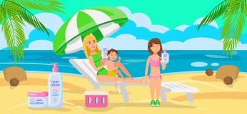 Sunscreen för hel familj också vektor för coreldrawillustration stock illustrationer
