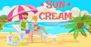 Sunscreen för hel familj också vektor för coreldrawillustration royaltyfri illustrationer