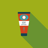 Sunscreen flat icon with long shadow. Cartoon vector illustration stock illustration
