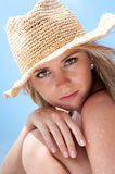 Sunscreen girl Stock Images