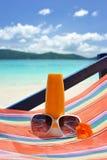 Sunscreen lotion Stock Photos