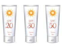 Sunscreen lotion bottles. SPF, from lower till very high protection Stock Image