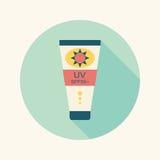Sunscreen płaska ikona z długim cieniem Zdjęcia Stock