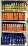Sunscreen products. New York, August 7, 2017: Multi-shelf stand filled with various sun screen packages in a Duane Reade store in Manhattan Royalty Free Stock Photography