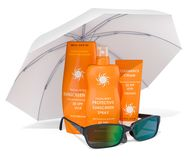 Sunscreen products with sunglasses under sun umbrella. 3D render. Sunscreen products with sunglasses under sun umbrella. 3D Royalty Free Stock Photography
