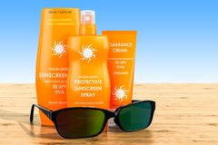 Sunscreen products with sunglasses on the wooden table. 3D rende. Sunscreen products with sunglasses on the wooden table. 3D stock photos
