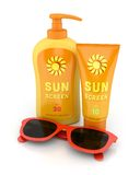 Sunscreen and red sunglasses Stock Photography