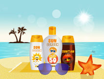 Sunscreen set with sun protection cream, lotion and suntan oil. Illustration of sunscreen set with sun protection cream, lotion and suntan oil Stock Photos