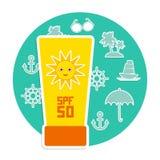 Sunscreen SPF 50 set wakacje plaża Obraz Stock