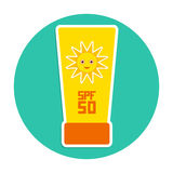 Sunscreen SPF 50. The yellow tube on blue. Background. Summer vacation beach. Round Card Design. Vector illustration Stock Image