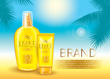 Sunscreen sprays and a tube of sunscreen cream for the face, and palm branches on a marine background. Vector illustration. Ready- Royalty Free Stock Images