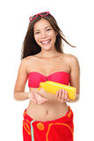 Sunscreen summer vacation woman isolated Stock Photography