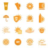 Sunscreen sun protect logo icons set, flat style. Sunscreen sun protection logo icons set. Flat illustration of 16 sunscreen sun protection logo vector icons for Stock Images