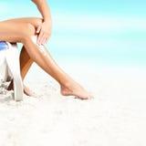 Sunscreen, suntan płukanka/ fotografia stock
