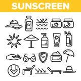 Sunscreen, ULTRAFIOLETOWEGO Defence wektoru Cienkie Kreskowe ikony Ustawiać ilustracja wektor