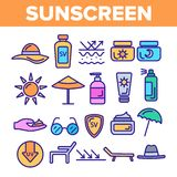 Sunscreen, UV Defence Vector Thin Line Icons Set stock illustration