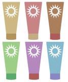 Sunscreenuppsättning Arkivfoto
