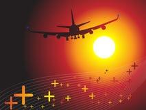 sunse för luftflygnivå in mot Arkivfoton