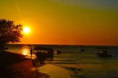 Sunsent w Tamarindo plaży, Costa Rica zdjęcie royalty free
