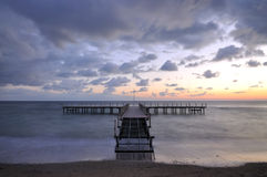 Sunser sobre o mar Imagens de Stock