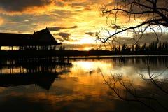 Sunset湖视图 库存图片