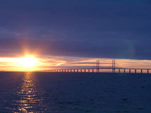 Sunset at Öresundsbron. This is the bridge between Sweden and Denmark Stock Photo