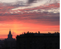 Sunset 0ver Moscow Royalty Free Stock Images