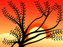 Sunset 1. Vectored tree by sunset royalty free illustration