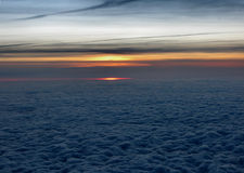 Sunset at 10 km above the earth. Sunset filmed from the plane at 10 km Stock Photos