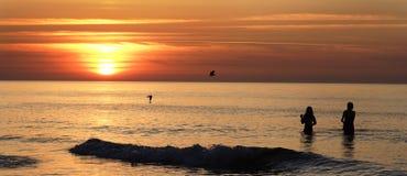 Sunset. Beautiful Sunset Scene on Sea Stock Photo