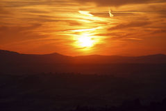 Sunset. On the italian hills in Marche region Royalty Free Stock Photography