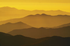 Sunset. Layered mountains Clingman's Dome