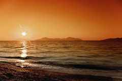Sunset. On the Kos Island royalty free stock photography