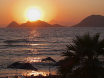 Sunset. At the seaside in Turgutreis Turkey Stock Photography