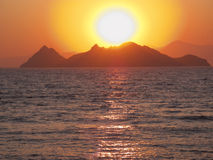 Sunset. At the seaside in Turgutreis Turkey Royalty Free Stock Images