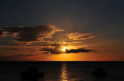 Sunset. Sun and clouds over Indian Ocean whilst sunset royalty free stock image