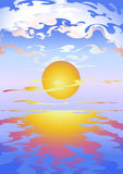 Sunset. Stylization design of sunset on sea Stock Images