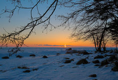 Sunset. On winter gulf of Finland Royalty Free Stock Photos