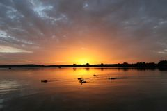 Sunset. A wonderful sunset at the Ammersee Royalty Free Stock Image