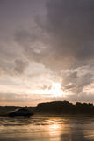 Sunset. Highway after the rain in the sunset Stock Photography