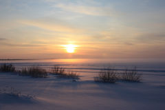Sunset. In the  winter evening Stock Image