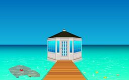 Wooden gazebo on the beach vector illustration