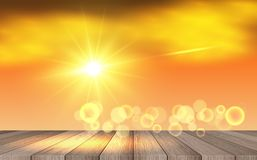 Sunlight on the sky. Wooden table with sunlight background stock illustration